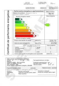 Specimen de certificat de performanta energetica pentru apartamente